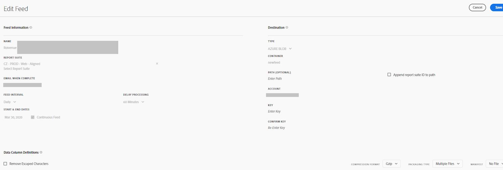 Settings of Adobe Analytics Export to Azure Blob Storage