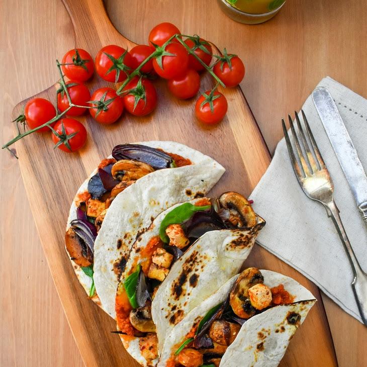 Spiced Tofu and Mushroom Tacos