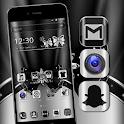 Silver Black Metallic Launcher Theme icon
