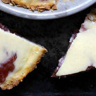 Rhubarb Custard Pie with an Oatmeal Cookie Crust.