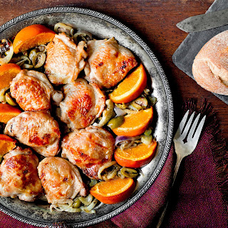 Broiled Chicken Thighs with Oranges, Fennel and Green Olives