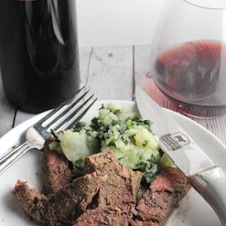 Roasted Sirloin Steak with Red Wine Garlic Sauce