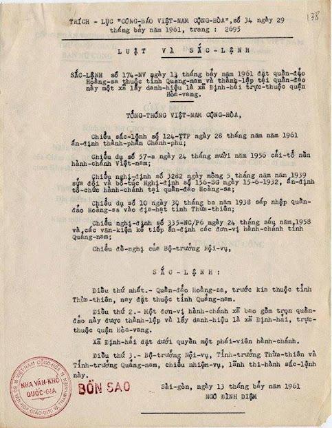 Sắc lệnh năm 1961 của Tổng thống VNCH về đảo Hoàng Sa và Trường Sa