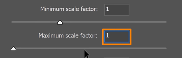 setting the Minimum scale factor and the Maximum scale factor to 1