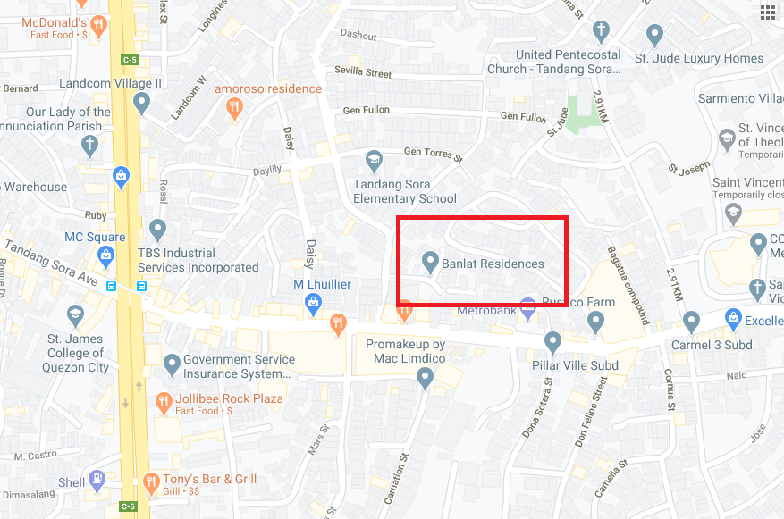 Banlat Residences, Tandang Sora, QC location map