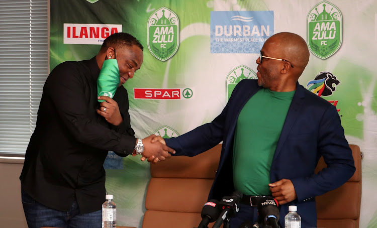 AmaZulu owner-chairman Sandile Zungu and coach Benni McCarthy.