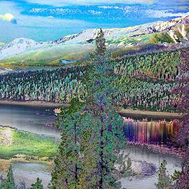COLORADO by Jennifer  Loper  - Digital Art Places ( sky, mountains, trees, water, lake )