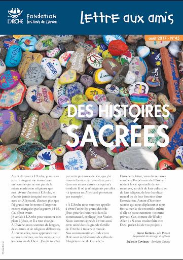 lettre aux amis de L'Arche : des histoires sacrees