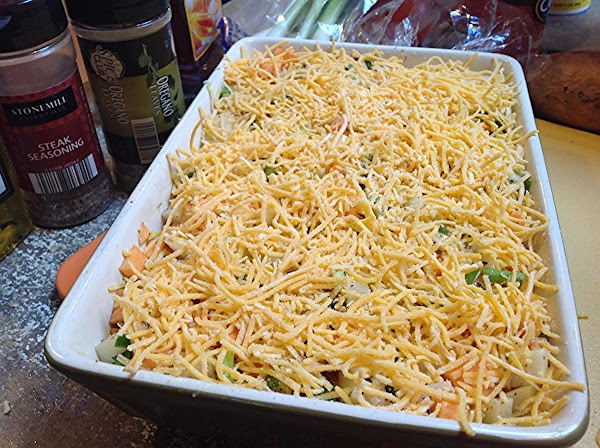 Repeat with remaining potatoes, then pour the milk into the casserole dish. Then bake...
