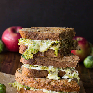 Brussels Sprout, Apple and Brie Grilled Cheese with Whipped Goat Cheese