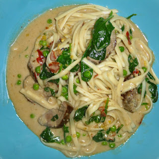 Homemade Thai Duck Curry with Udon Noodles.