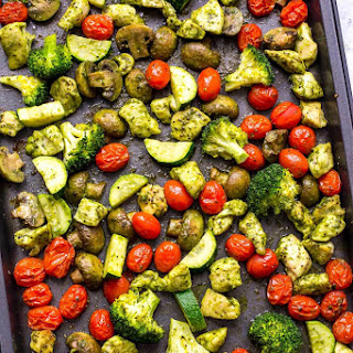 Sheet Pan Pesto Chicken Meal Prep Bowls.