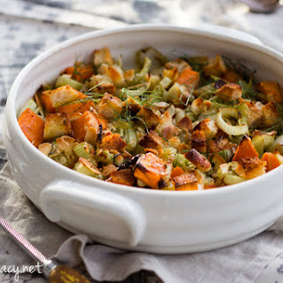 Easy Dairy Free Fennel And Sweet Potato Gratin.