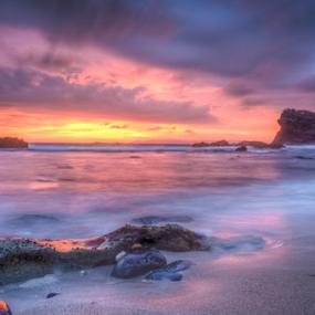 golden hour by Martin Marthadinata - Landscapes Sunsets & Sunrises ( nature, sunset, rock formation, beach, landscape )