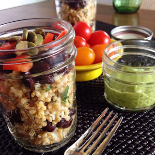 Freekeh with Black Beans and Avocado Dressing