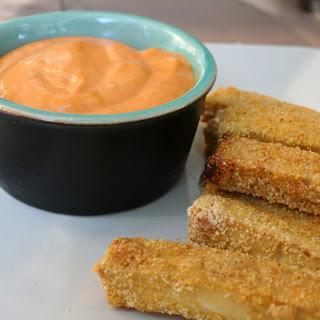 Crispy Garlic Tofu Fries with Roasted Red Pepper Tahini Dip