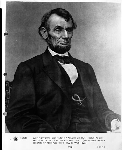 Abraham Lincoln, February 9, 1864, by Anthony Berger. The original caption is incorrect about this being the last photograph of Lincoln.