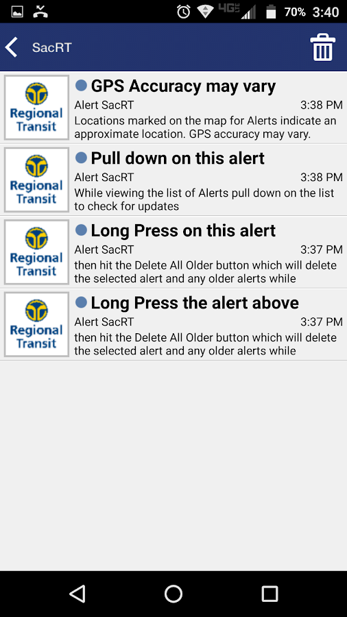Alert SacRT- screenshot