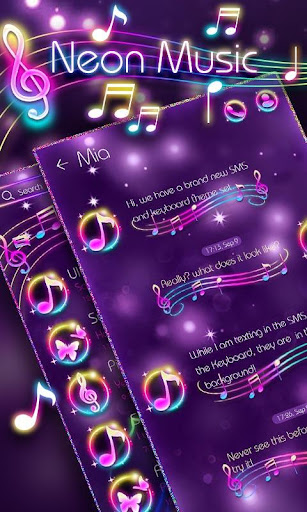 (FREE) GO SMS NEON MUSIC THEME screenshot