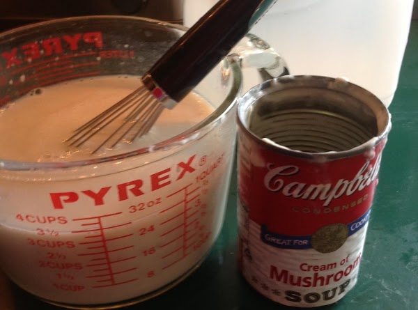 Whisk the milk a soup together and pour over top of the casserole, add...