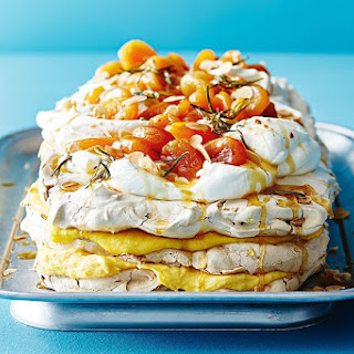 Maggie Beer's dried apricot pavlova with apricot curd