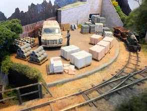 Photo: 023 The trains on Thakeham tiles are loaded off stage at one end of the triangular scene and then travel to another off-scene bay at the other end where they are unloaded. It sounds quite boring but in reality it is a very fascinating little scene to stand and enjoy watching .