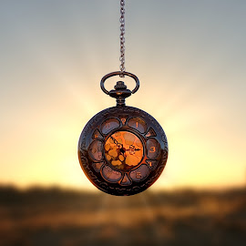 Daylight Savings Time by Shawn Thomas - Artistic Objects Other Objects ( pocket watch, sunset, watch, art, fine art,  )