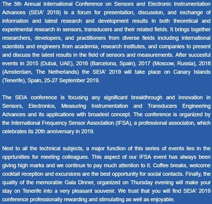 International Conference on Sensors and Electronic Instrumentation