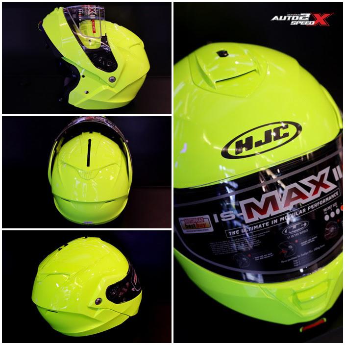 หมวกกันน็อค HJC ISMAX2  FLUORESCENT GREEN ยกคางแว่น2ชั้น  HELMET