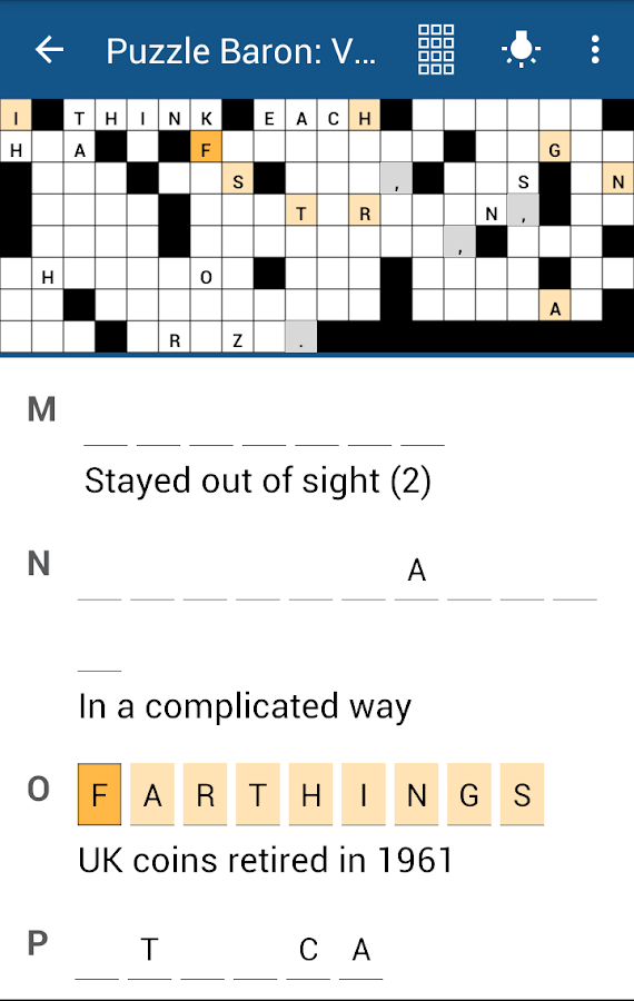Acrostics Crossword Puzzles- screenshot