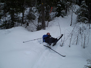 Photo: Skiing has downs too.150M bog - Larch Hil
