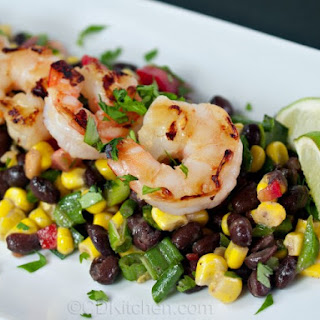 Grilled Shrimp With Southwestern Black Bean Salad.