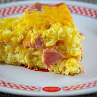 Ham and Cheddar Macaroni Clafouti.
