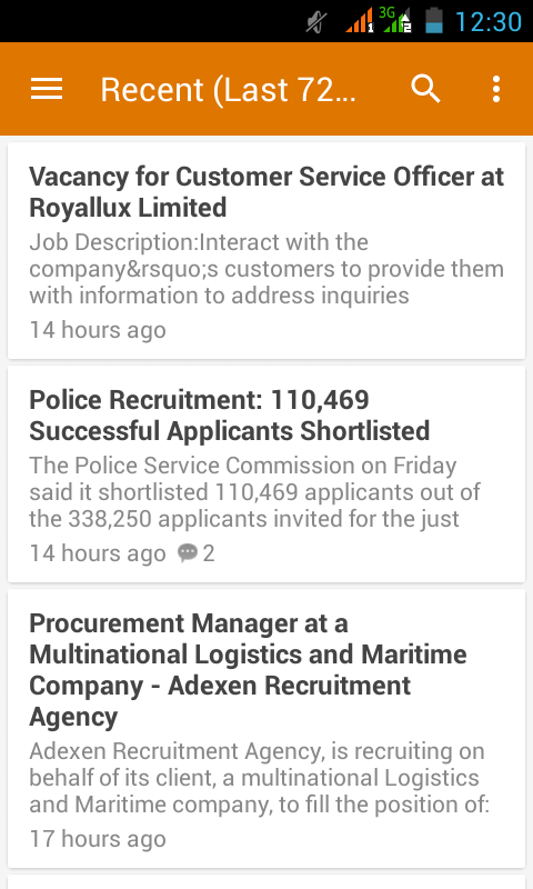 Nigerian Job Updates App- screenshot