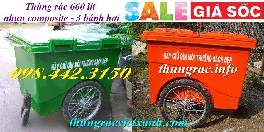 Xe gom rác 660 lít nhựa composite 3 bánh hơi
