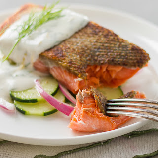 Salmon with Lemon-Dill Creme Fraiche