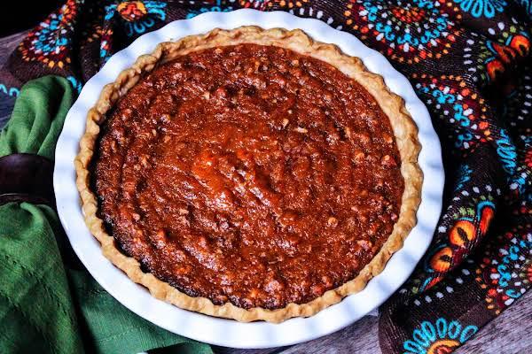 Sweet Potato Pecan Pie Ready To Be Sliced.