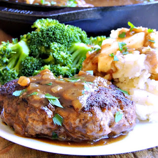 Simple Salisbury Steaks with Caramelized Onion Gravy.
