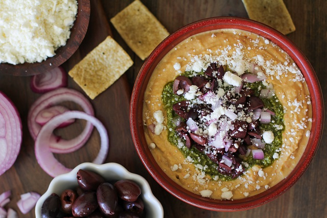 Mediterranean Hummus with Pesto and Feta Recipe