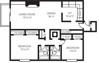 Go to Two Bed, Two Bath C Floorplan page.