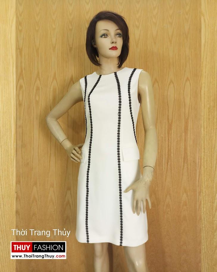 Váy suông sát nách phố ren sọc màu trắng V683 thời trang thủy đà nẵng