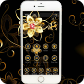gold black flower diamond