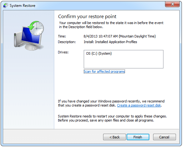 Performing System Restore Window 7 - Step 11