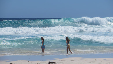 Photo: Dhana & Luly playing with the waves