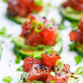 Spicy Tuna and Avocado Cucumber Sushi Bites.