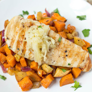 Roasted Sweet Potato, Apple, and Onion with Orange-Maple Chicken and Sauerkraut
