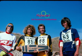 """Photo: L to R Mike Williams, Tony Alva, Steve Tanner & Pat Flannigan. Steve was instrumental in helping out with the design of the 29"""" Diamond tail board that would eventually become the Bruce Logan Model."""