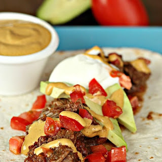 Slow Cooker Carne Asada Steak Tacos (with Chipotle Aioli Sauce).