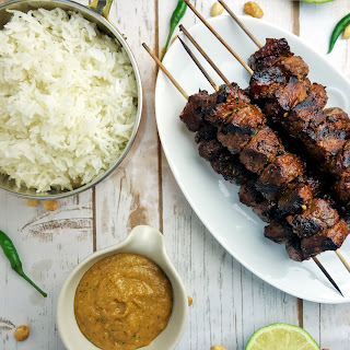 Indonesian Style Beef Satay with Peanut Sauce.