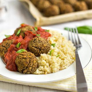 Mediterranean Lentil Meatballs With Tomato Sauce.